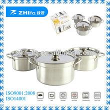 Zhifa 6pcs stainless steel african cookware set/casserole