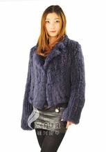 Cx-g-a-57b 2014 nuova voce europa stile caldo- vendita a breve manica vera pelliccia di coniglio lavorato a maglia donne cappotto