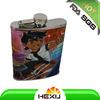 PU with cartoon logo 8oz hip flask