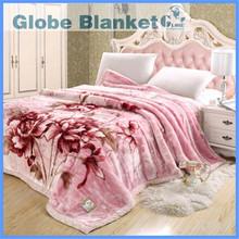 Korean jacquard printed polyester raschel throw/blanket