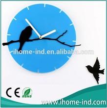 lovely bird design of acrylic wall clock