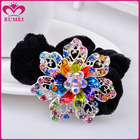 Colorful rhinestone flower velvet scrunchies