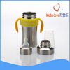fashion item stainless steel baby bottle with silicon teat and stainless steel dustproof cover.