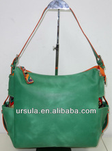 2014 HOT AND BEST SELLING GREEN PU WITH COATED FLORAL CANVAS TRIM HANDBAG AND FASHION LADY HANDBAG