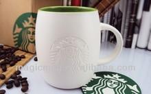 Ceramic Sand Blast Coffee Mug With Famous Brand Logo