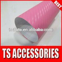 TSAUTOP 1.52*30m air Free bubbles Small Texture pink 3D Carbon Fiber vinyl roll