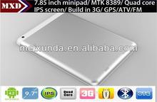cheap sim card tablet pc 7.85 inch MTK8389 Quad Core 1.2GHz Tablet Pc IPS 1GB/8GB with 3G SIM Card Slot, GPS, ATV, BT, FM, HDMI