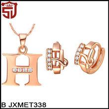 """Letter """"H"""" Shaped Nice Zircon Engagement Stylish Fake Gold Jewelry Set"""
