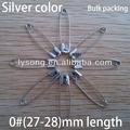 Yüksek kalite 0#( 27-28) mm uzunluğu gümüş renkli dekoratif emniyet pimleri