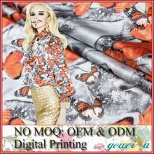 No MOQ Custom Lady Garment Digital Printed Silk Fabric