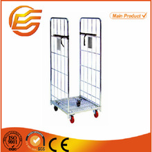 Folding supermarket metal wire mesh cargo storage roll container