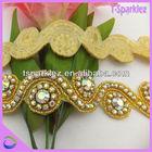 2014 NEW GOLDEN BASE ab rhinestone appliques for bridal sash