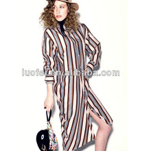 designer cotton blend mid length long sleeves lady stripe shirt dress
