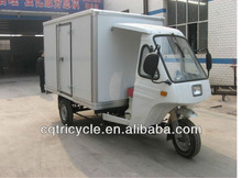 cargo motorized tricycle with side doors and closed box