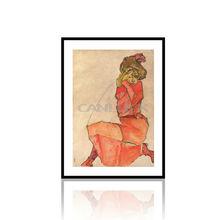 На коленях женщина в красном платье живопись / леди в красный живопись / художественная роспись современная женщина