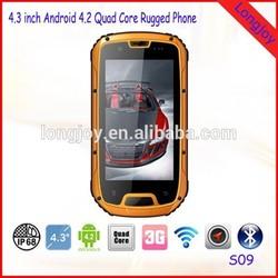 "LONGJOY IP68 4.3"" 3G Three-Anti Quad core Military Android Dual SIM WCDMA Rugged Mobile Phone S09"