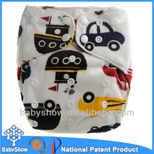 Babyshow hot sale minky fashion car printed custom made AIO cloth diaper sleepy baby diaper