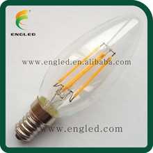 Patent Vintage 360 degree COB COG Blue sapphireglass E14 E12 C35 2W/3W/4W Flame Candle LED filament bulb