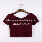 100% cotton ladies fashion plain crop top T-shirt