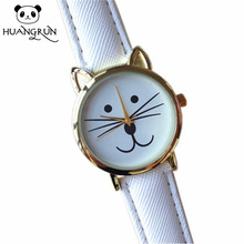 Gold and silver ladies leather strap watch with cats