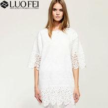 fashion high quality lady summer half sleeve white cotton crochet lace dress