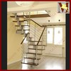 silver color stairs stainless steel attic stairs with timber stair steps