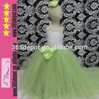 Lime Green Kids Clothes Summer 2014 Baby Girls' Long Tutu Wedding Dress
