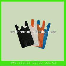 new material made t shirt bag vest bag for supermarket/grocery different color