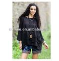 la primavera 2014 original nuevo de moda étnica camisa de las señoras de diseño sólido negro bordado tamaño más