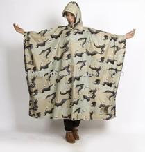Square camouflage rain poncho western poncho camouflage windbreak printed rain coat
