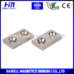 custom made neodymium magnet, double countersunk hole N42 NICUNI coating