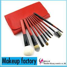 Red color convenient cosmetic brush set 9pcs professional travel set makeup brush