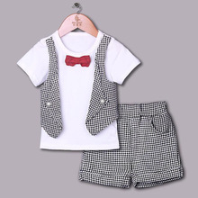 2015 Fashion Boy Clothing Sets White Shirt Grey Short For Boy Suits With Red Bow Tie Children Wear Kids Clothes CS40420-26