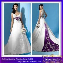 2014 Popular Beautiful Elegant A Line V Neck Covered Back Floor Length Appliqued Satin Purple And White Wedding Dresses (AB0028)