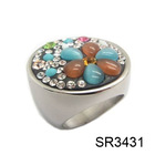 multi color stone new design rings silver jewelry with black stone