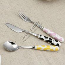 fashion cow spoon knife forks set/wedding favors gifts/ceramic handle flatware