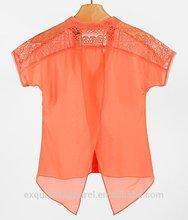 2015 high quality simple chiffon 3 dollars cheap price wholesale women chiffon v neck shirt
