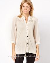 2014 de alta qualidade mulheres chiffon mangas compridas modelo blusa de renda