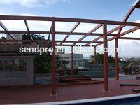 Wooden color aluminum frame laminated glass sunhouse