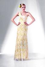 Elegance yellow and white flower pattern one shoulder evening dresses 2014 floor length long bling bling cocktail dress