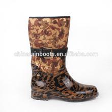 2014 fashion women leopard print half rain boots with buckle belt