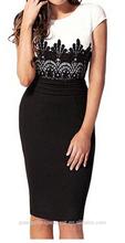 Women's cap sleeve lace splicing evening office plus size celebrity pencil dress