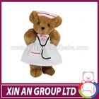 Cute nurse teddy bear gift toy in white dress