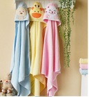 New 2014 hot sale 100% cotton lovely bath towel with cap for babies