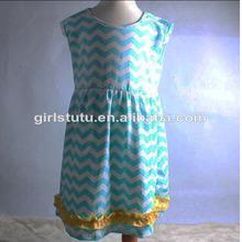 Latest Design 100% Cotton Casual Sleeveless Maxi Dresses Chevron Dress Wholesale Toddler Dresses