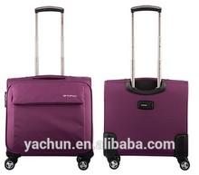 Stylish lightweight pilot trolley case rolling luggaeg with laptop sleeve