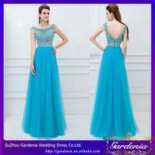 A-line Jewel Royal Blue See Through Corset Beaded Floor Length High Class Dresses Evening