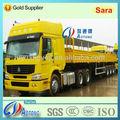 china caliente venta 6x4 sinotruk howo camión tractor con 3 ejes de superficie plana de la cortina de la pared lateral del remolque semi