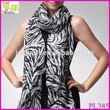 New Women Fashion Black White Chiffon Zebra Striped Print Scarf Shawl
