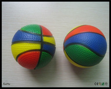 7cm pu foam colorful anti stress basketball